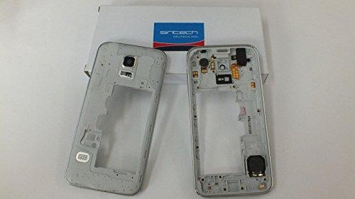 Sintech.DE Limited Mittelrahmen passend für Samsung Galaxy S5 Mini G800f in Silber inkl. Kopfhörerbuchse, Lautsprecher, Laut/Leise Flex, Kameraglas und Powertaste
