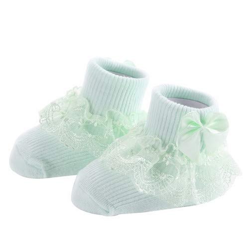 JSANSUI Chaussettes Hautes pour Femmes 3 Paires Bow Dentelle Chaussettes de bébé Nouveau-né Coton Sock bébé (Taille: M) (Color : Green)