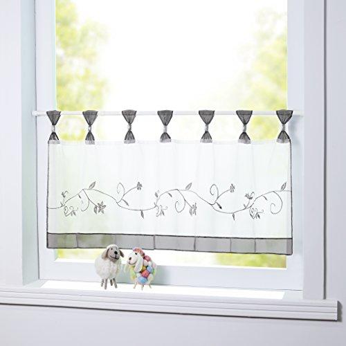 Joyswahl Scheibengardine Voile Bistrogardine Selina mit Blumen-Stickerei Muster Transparente Gardine HxB 45x90cm Grau 1er Pack