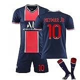 GYLMXF Camiseta Unisex, Camiseta de Segunda equipación 2021, Mbappé 7# / Neymar 10# Camisetas de fútbol Traje de Camiseta para niños, Camiseta + pantalón Corto + Calcetines