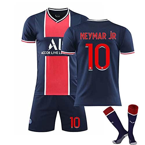 GJMQQ Maglia da Uomo, Paris Saint-Germain 2021 Second Away Jersey, Mbappé 7# / Neymar 10# Magliette da Calcio Completo in Jersey per Bambini, T-Shirt + Pantaloncini + Calzini