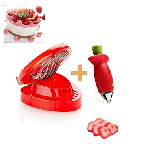 Erdbeerschneider und Entstieler-Set, gute Griffe, leicht zu lösen, Obst-Schneider, Gadgets, Edelstahl, Erdbeer-Stängelentferner, Küchenhilfe, Backzubehör, 2-teiliges Set