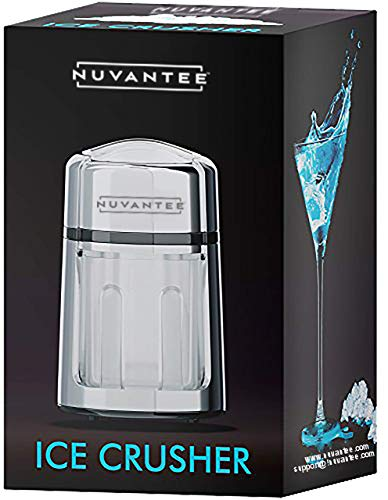 Nuvantee Manual Ice Crusher With Rust-Proof Zinc Alloy Construction - Carbon Steel 430 Blade Crushes Ice to Your Desired Fineness - Non-Slip - Easy to Use Ice Crusher Hand Crank - Chrome Plated