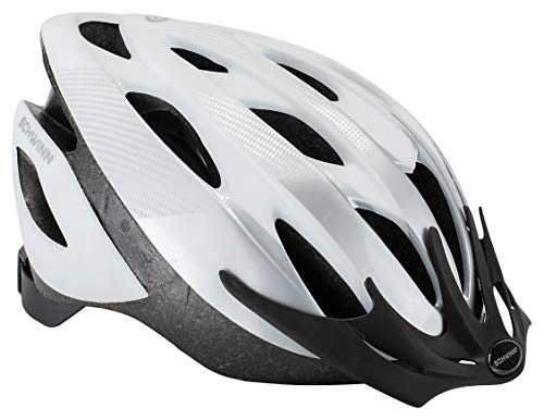 Product Image of the Schwinn Thrasher Bike Helmet, Lightweight Microshell Design, Adult, White/Silver