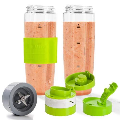 Genius Feelvita Nutri Mixer To Go-Set 600ml (6 Teile) - perfekt für unterwegs - Trink-Flasche für kalt und heiß mit auslaufsicherem Deckel Mixbehälter bruchsicher