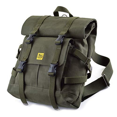 バンナイズ (VanNuys) ちょっと ミリタリー (military) な 感じ の バッグ シリーズ / Type - A 帆布 の バックパック (6号帆布 : グリーン パラフィン 加工 済み)