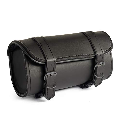 The Nekid Cow   Motorcycle Storage Bag Premium Synthetic Black Plain PVC Leather 2 Strap Closer Tool Bag Pouch for Saddle Bag Sissy Bars, Fork Handlebars or Windshield