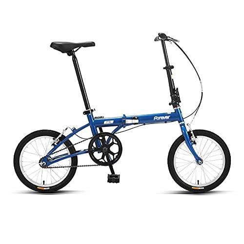Bicicleta, Bicicleta Plegable PortáTil de 16 Pulgadas, Bicicleta de CercaníAs de una Sola Velocidad, Marco de Poca Envergadura, Altura Del Asiento Ajustable, Adecuada para Adultos/Estudiantes