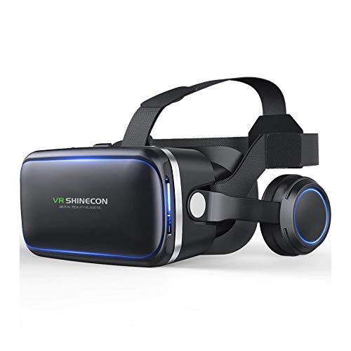 VR SHINECON Original 6.0 VR fone de Ouvido Versão Realidade Virtual Óculos Estéreo Fones De Ouvido Óculos 3D Headset Capacetes Suporte 4.7-6.0 polegada de Tela Grande Smartphone + Controle