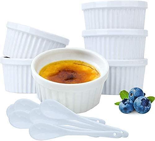 Ramequins - Cuenco de soplador para hornear (cerámica, 8 onzas de 3,5 pulgadas), de cerámica para horno con 6 cucharas adicionales para crema Brulee Desserts Puddings Custard Cup Ice Cream