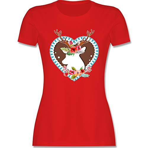 Oktoberfest & Wiesn Damen - Hirsch mit Blumen Oktoberfest - L - Rot - Tshirt Tracht Damen - L191 - Tailliertes Tshirt für Damen und Frauen T-Shirt