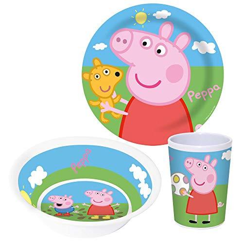 Peppa Pig Juego de Desayuno 3 Partes | Melamina | Vajilla Infantil