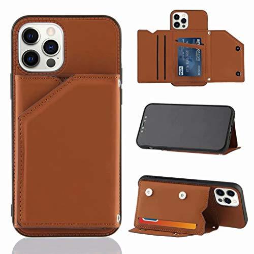 Handyhülle für Xiaomi Poco M3 Hülle Leder, Xiaomi Poco M3 Lederhülle Kreditkarten, Geldfächern & Standfunktion Handytasche Hülle für Xiaomi Poco M3 Handy Hüllen braun