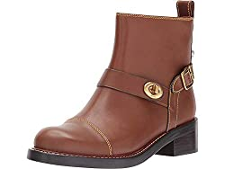 top 10 coach ankle boots Boots Coach Moto Booties Dark Saddle Leather 8M.