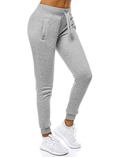 Womens Sweatpants Active Yoga Pants Workout Lounge Joggers Cuffed Ankle Athletic Sweats Elastic Waist Drawstring Pajama with Pockets (Light Grey Joggers, 2XL)