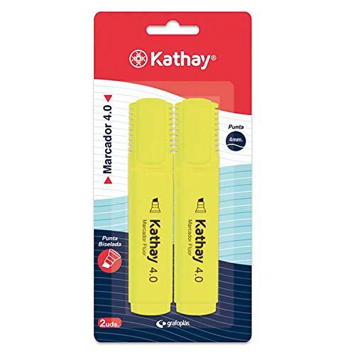 Kathay 86211960. Pack de 2 Subrayadores, Color Amarillo, Punta Biselada 4mm