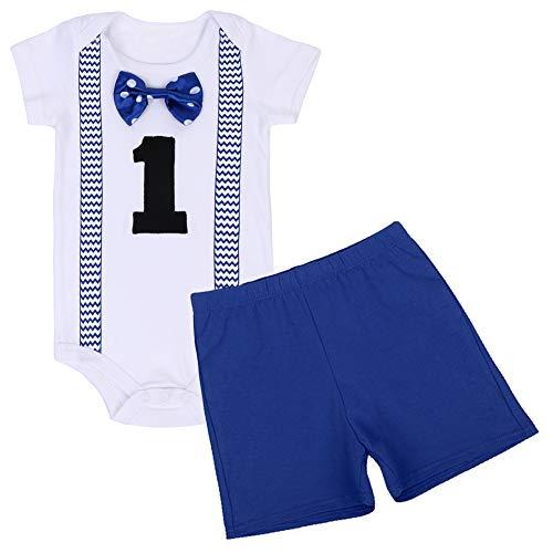 FYMNSI Traje de primer cumpleaños para bebé niño de manga corta con pajarita y pantalones cortos de un año de edad, para fiesta de boda, fotografía y accesorios