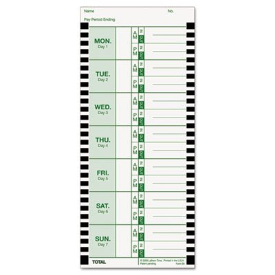 Time Card for Lathem Model 800P, 4 x 9, Weekly, 1-Sided, 100/Pack, Sold as 2 Package