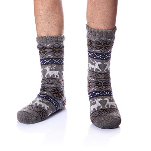 Men's Fleece Lined Cozy Extra Thick Slipper Socks Winter Non-Slip Fuzzy Home Socks Christmas Gift...