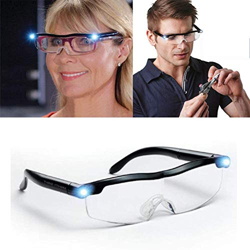 Brille mit LED-Licht, Lupe für Leser, 160% Vergrößerung, wiederaufladbar per USB, für Leser, Damen, Herren und Kinder.
