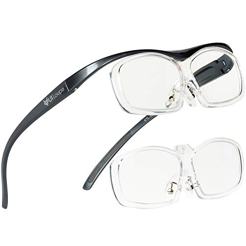 Kenko メガネ型拡大鏡 YUIルーペ レンズ交換式 レギュラーサイズ 倍率1.6倍/1.89倍2枚セット グレー KTL-5103R-GR