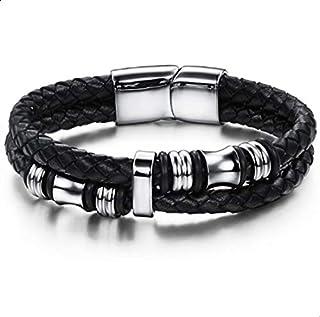 Fashion Titanium Steel Leather Cool Black Men Bracelet as Ramadan Gift for Male
