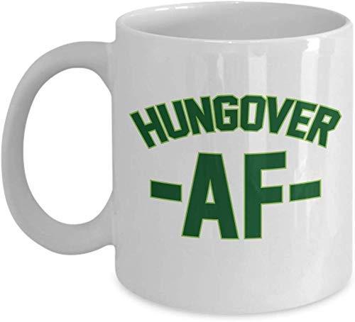 Hungover AF Drinking Hangover Millennial Slang Taza de regalo de café y té, accesorios y regalos para bebedor de cerveza, ginebra, ron, IPA, whisky, escocés, vodka o martini y bebedores de alcohol par