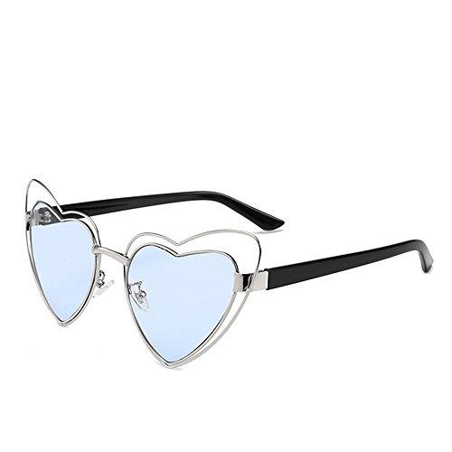 GWF Hartvormige metalen zonnebril met volledige frame, voor dames en heren, UV-bescherming voor vakantie, zomer, strand C4