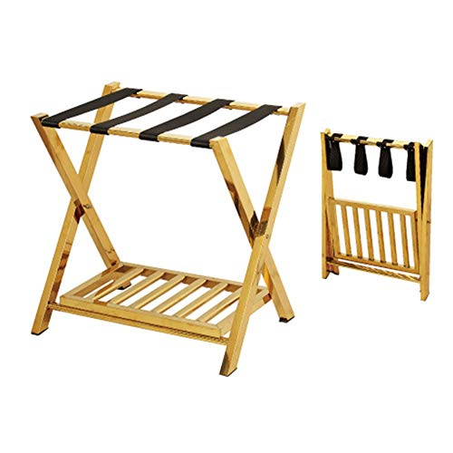 Fantastic Deal! Canyixiu Folding Wooden Luggage Rack with Shelf (Pack of 1),Luggage Stand for Suitca...
