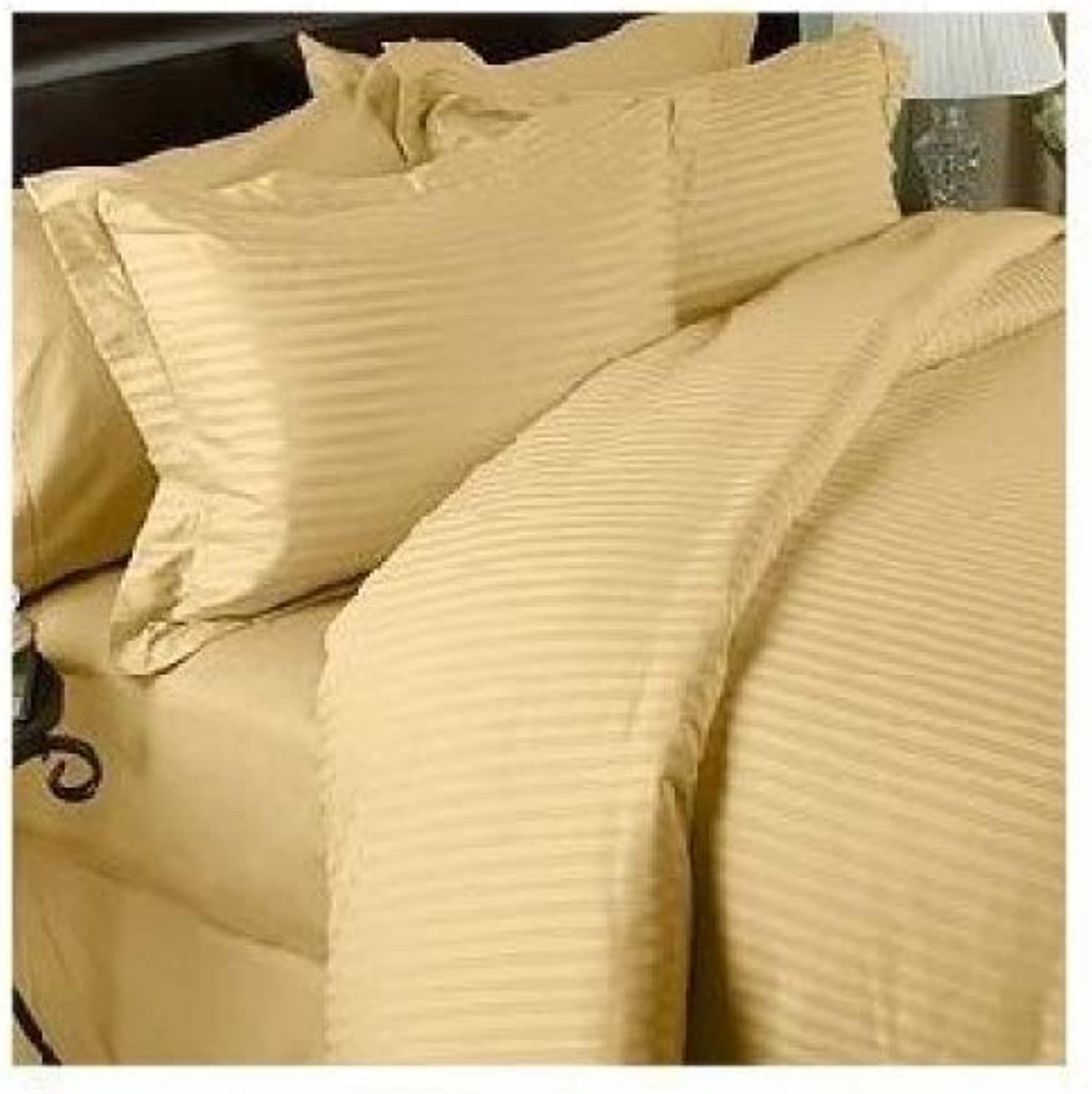 1200 Thread Count 100% Egyptian Cotton STRIPED gold Queen Duvet Cover