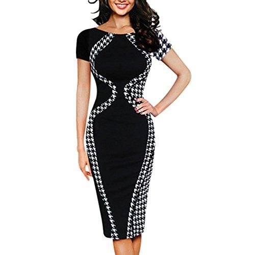 MRULIC Arbeitsmode Büro Kleid Damen Bodycon Kurzarm Party Dress Business Style Bleistift Minikleid Gestreift Slim-Fit Kleider