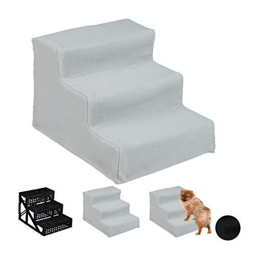 Relaxdays Hundetreppe 3 Stufen, kleine & große Hunde, Bett & Couch, Stoffbezug, Tiertreppe innen, HBT 30x35x45 cm, grau, 1 Stück