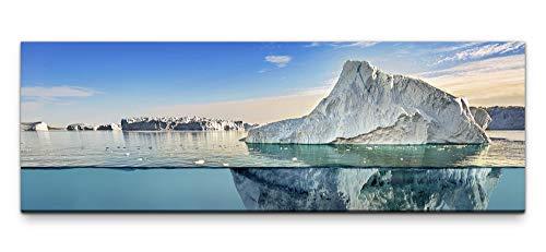 Leinwandbild auf Echtholzrahmen Eisberg im Wasser 150x50cm