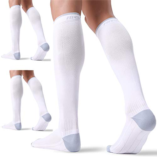 3 Pairs Compression Socks for Women and Men 20-30mmHg- Circulation Support Socks for Travel, Running, Nurse, Medical White L/XL