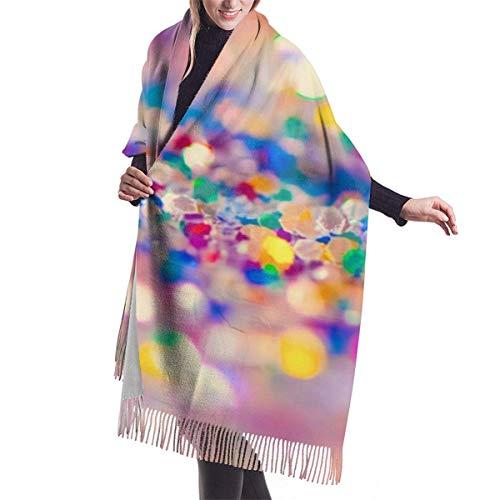 Garlincao Vintage Abstract Glitter RainbowImitación de cachemira cubierta de mantón-bufanda suave gruesa extra grande