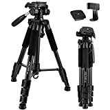 "65"" Camera Tripod Compact Light Weight Travel Aluminum Camera/Phone Tripod for Canon Nikon with 2PC Quick Plates and Universal Phone Mount 11 lbs Load (Black)"