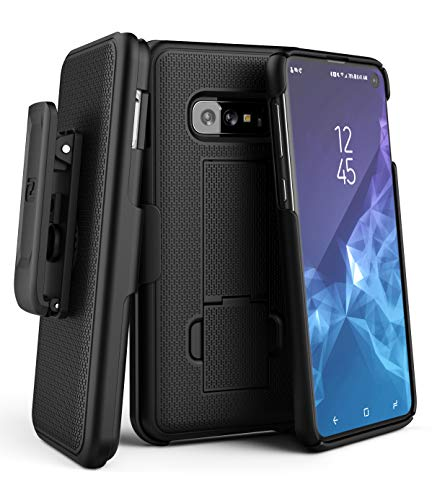Encased Galaxy S10e Belt Clip Case (2019 DuraClip) Slim Grip Cover w/Holder for Samsung Galaxy S10 E (Black)