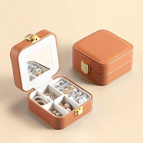 ASDMRQ Caja de joyería, caja de almacenamiento de joyería de cuero de las señoras, caja de joyería de diseño simple, caja de joyería portátil, caja de joyería flip-top con espejo