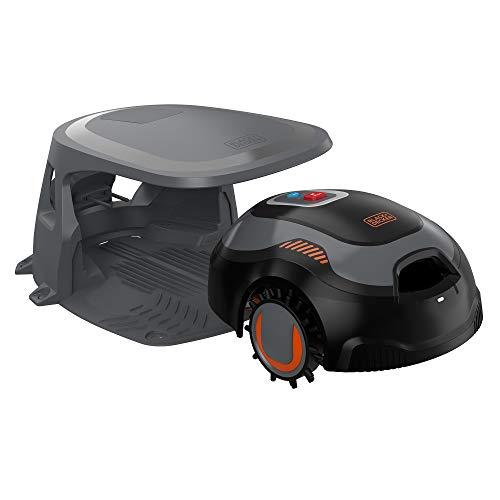BLACK+DECKER BCRMW123-QW - Robot Rasaerba per Superfici Fino a 700 m², 12V 4.3Ah con Pulitore del Piatto di Taglio e Postazione di Ricarica Coperta