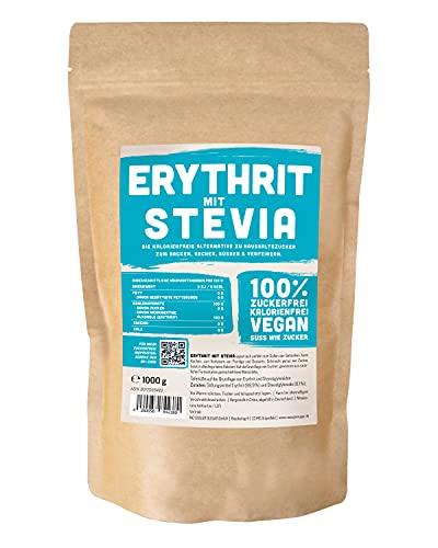 Erythrit + Stevia natürlicher Zuckerersatz ohne Kalorien 1:1 Süße gegenüber Zucker, ohne Eigengeschmack, gesunde Alternative zum Kochen, Backen, Süßen (1 kg Doypack)