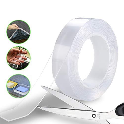 Faminess Waschbares Spurloses Klebeband Doppelseitiges Klebeband Extra Stark 3M Nano Tape Transparent Entfernbares Wiederverwendbares Klebestreifen Extra Starke Klebekraft