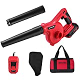Meterk Cordless Leaf Blower 20V 2.0 Ah Lithium-ion Battery&Quick Charger , 150MPH, 3 Gear Variable Speed, Mini Lightweight 2 in 1 Sweeper & Vacuum
