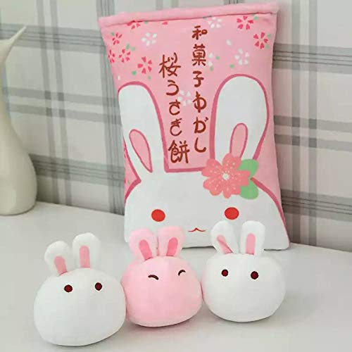 NMJHG A Bag of 8pcs Snack Pudding Soft Plush Toy Bear Cat Monster Plush Pillow Creative Anime Throw Pillow Cartoon Doll Toys for Kids only3pcsrabbitin