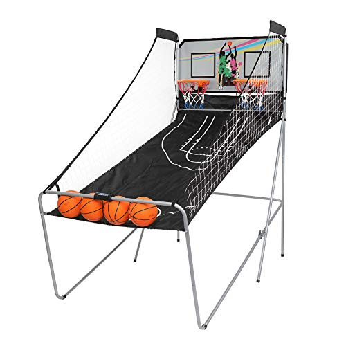 PEXMOR Foldable Basketball Arcade Game w  4 Balls, Dual Shot, 8 Game Options, Indoor Electronic Basketball Game for Kids, Adults
