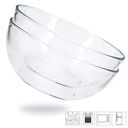 Cuencos de Cocina de Vidrio, Fuente de Ensalada Prémium, Juego de 2 Recipientes de Vidrio Templado para Mezclar Cereales, 20 cm de Diámetro