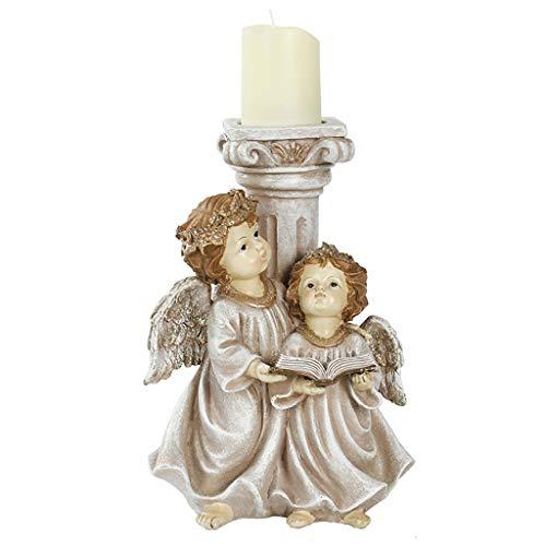 Henan - Candelabro retro de resina con cilindro de luz de té para Navidad boda vintage