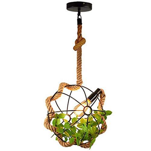 Yangqing Lámpara de luz de estilo americano creativer retro rústico lámpara colgante de bola de cáñamo para cafetería/bar/club, 42 cm, tamaño: 42 cm, 33 cm