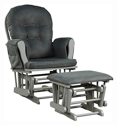HomyDelight Rocking Chair, Baby Nursery Relax Rocker Rocking Chair Glider & Ottoman Set, Gray