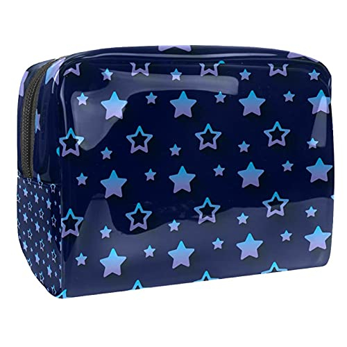 Stars Pattern Navy Blue Background 18.5x7.5x13cm/7.3x3x5.1in Travel Makeup Bag/Clutch Purse/Cosmetic Bag/Makeup Pouch Multifunctional Bag for Women