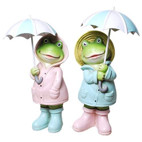 Frösche mit Regenschirm Dekofrosch Solarfigur Gartenfigur Froschfigur Gartenfrosch Wetterfrosch